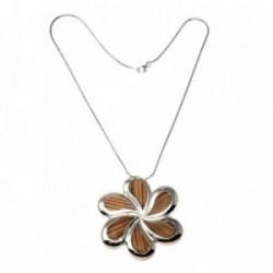 Gargantilla plata Ley 925m 42cm madera motivo flor 6 pétalos [AB9078]