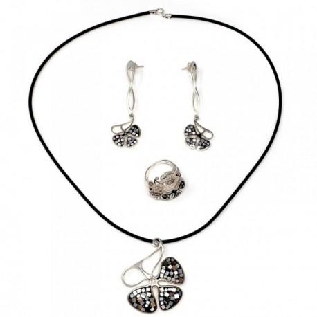 Juego plata Ley 925m flor pétalos negros anillo talla 18 [AB9080]