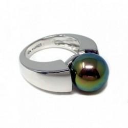 Sortija plata Ley 925m perla sintética verde morada talla 15 [AB9082]