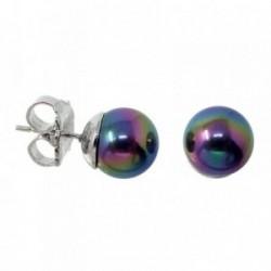 Pendientes plata Ley 925m perla verde morada cierre presión [AB9083]