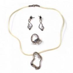 Juego plata Ley 925m 40cm. nácar circonita anillo talla 14 [AB9087]