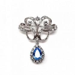 Alfiler plata Ley 925m rodiada lágrima azul circonita  [AB9089]