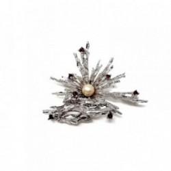 Alfiler plata Ley 925m rodiada perla circonitas burdeos [AB9091]