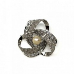 Alfiler plata Ley 925m rodiada perla circonitas [AB9092]