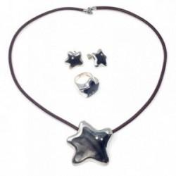Juego plata Ley 925m estrella circonitas anillo talla 12  [AB9112]