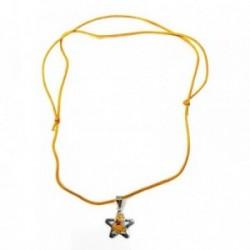 Colgante plata Ley 925m estrella amarillo cordón ajustable [AB9113]
