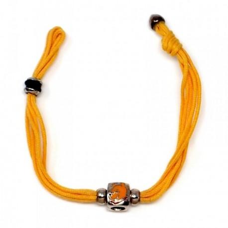 Pulsera plata Ley 925m motivo cuadrado oso cordón amarillo  [AB9114]