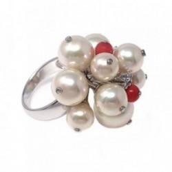 Sortija plata Ley 925m perlas sintética circonitas talla 13  [AB9120]