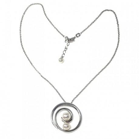 Colgante plata Ley 925m espiral perlas  [AB9121]