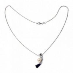 Gargantilla plata Ley 925m 40cm. curvo perlas circonitas [AB9123]