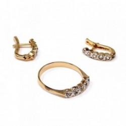 ef5d45d0e767 Juego plata Ley 925m chapado oro circonitas anillo talla 13  AB9127