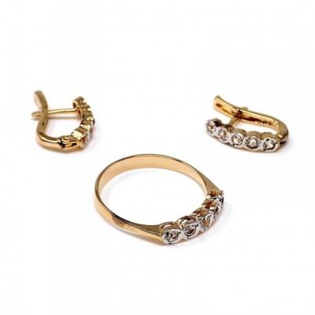 Juego plata Ley 925m chapado oro circonitas anillo talla 13 [AB9127]