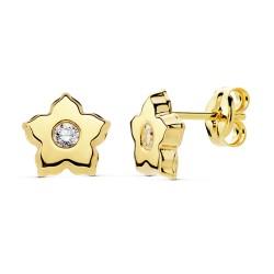 Pendientes oro 18k flor 13x6mm. circonita [8294]