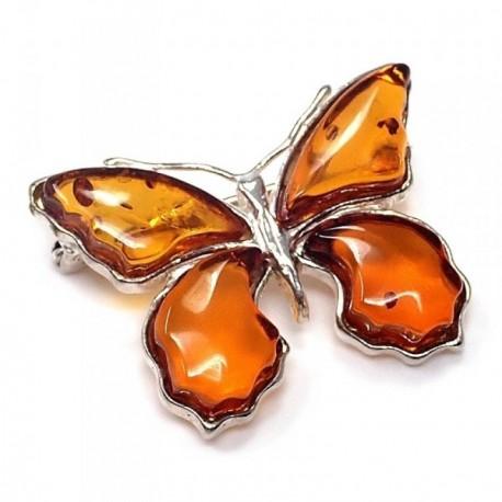 Broche alfiler plata Ley 925m motivo mariposa ámbar [AB5617]