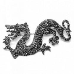 Broche alfiler plata Ley 925m oxidada dragón marquesitas [AB5618]