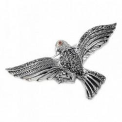 Broche alfiler plata Ley 925m oxidada águila marquesitas [AB5629]