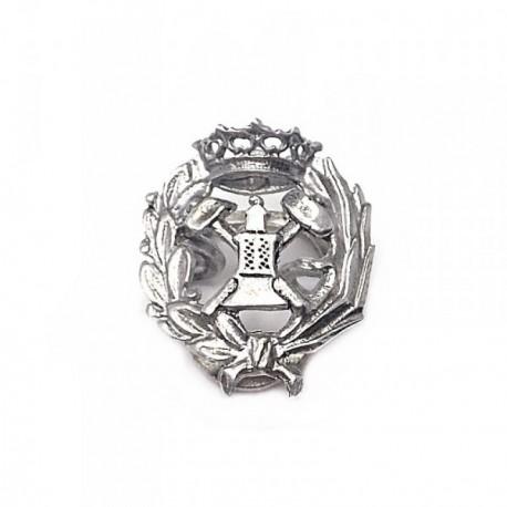 Solapero plata Ley 925m oxidada insignia ingeniero minas [AB5895]