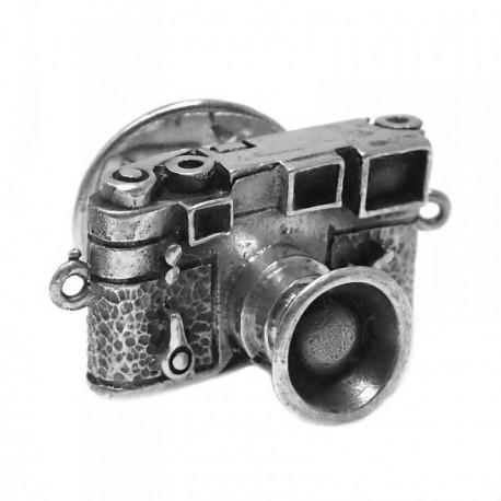 Pin plata Ley 925m oxidada cámara fotos lente [AB5901]