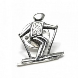 Pin plata Ley 925m oxidada muñeco esquí  [AB5903]