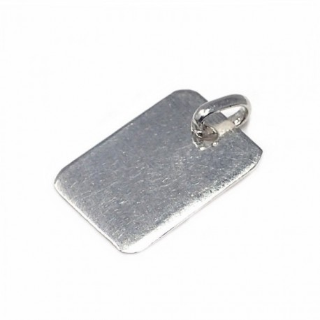 Chapa plata Ley 925m rectangular lisa  [AB5909]