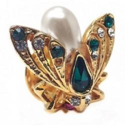 Pin metal dorado mosca circonitas verdes perla sintética [AB5917]