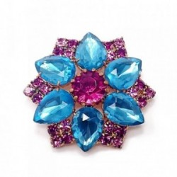 Broche alfiler metal dorado rosetón piedras azul rosa [AB5918]