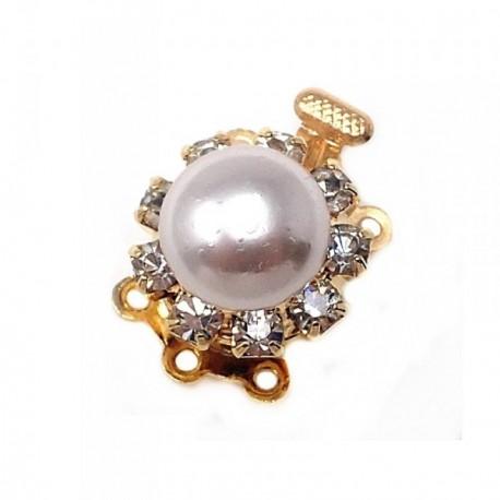 Broche collar metal dorado circonitas perla sintética  [AB5919]