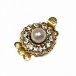 Broche collar metal dorado flor circonitas perla sintética [AB5920]