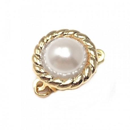 Broche collar metal dorado perla sintética labrado [AB6233]