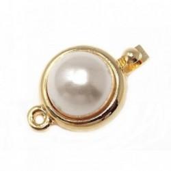 Broche collar metal dorado perla sintética cerco liso  [AB6234]