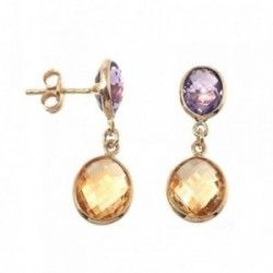 Pendientes MisMis oro 18k 26mm. piedra fina oval color  [AB9323]