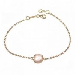 Pulsera MisMis oro 18k 18cm. cuarzo rosa antic briolette [AB9319]