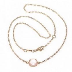 Gargantilla MisMis oro 18k 42cm. cuarzo rosa antic briolette [AB9334]