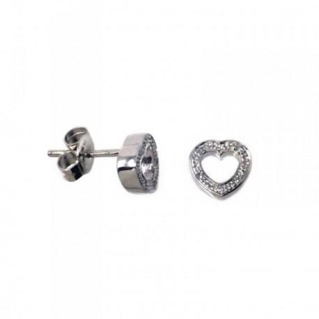 Pendientes MisMis oro blanco 18k 8mm. corazón 12 diamantes[AB9330]