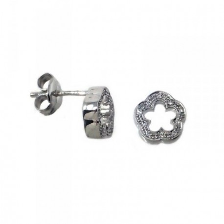 Pendientes MisMis oro blanco 18k 8mm. flor 10 diamantes [AB9318]