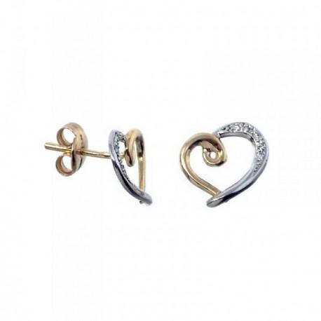 Pendientes MisMis oro 18k 11mm. bicolor corazón 6 diamantes [AB9316]