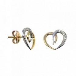 Pendientes MisMis oro 18k 12mm. bicolor corazón 6 diamantes [AB9332]