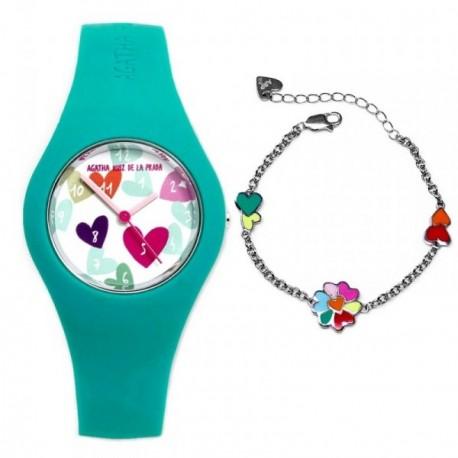 Juego Agatha Ruiz de la Prada reloj AGR224 pulsera plata [AB9351]