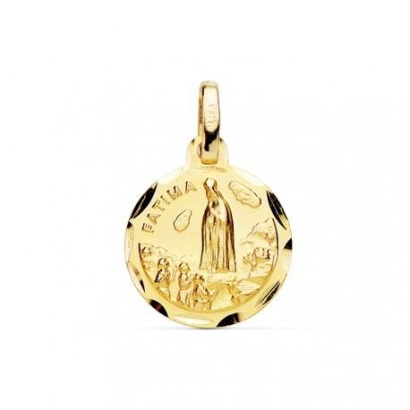 Medalla oro 18k Virgen de Fátima 14mm cerco tallado [AB3809GR]