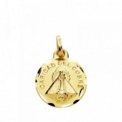 Medalla oro 18k Señora Caridad del Cobre 14mm. cerco tallado [AB3806GR]
