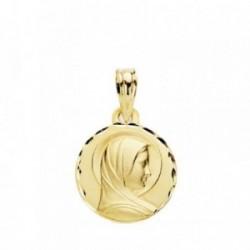 Medalla oro 18k María Francesa 14mm cerco tallado [AB3802GR]