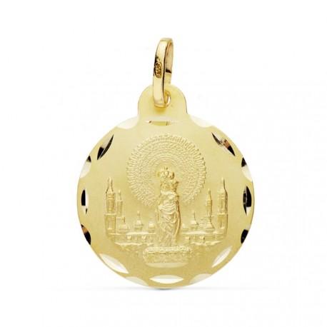 Medalla oro 18k Virgen Pilar 20mm. [AB0770GR]