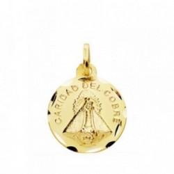 Medalla oro 18k Virgen Cobre 16mm cerco tallado. [AB3818GR]