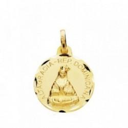 Medalla oro 18k Altagracia 16mm. cerco tallado [AB3817GR]
