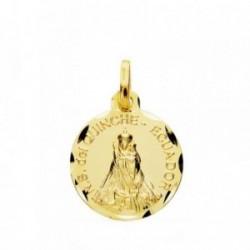 Medalla oro 18k Señora del Quinche 16mm cerco tallado. [AB3816GR]