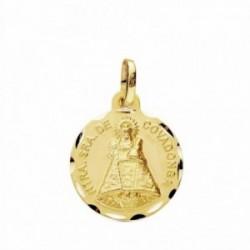 Medalla oro 18k Virgen Covadonga 16mm. tallada [AB3440GR]