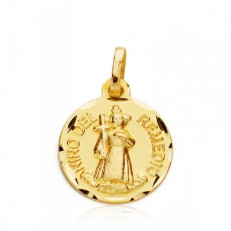 Medalla oro 18k Niño Remedio 14mm. [AB0794GR]