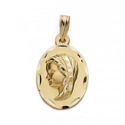 Medalla oro 18k Virgen Niña 22mm. biselada oval [9087]