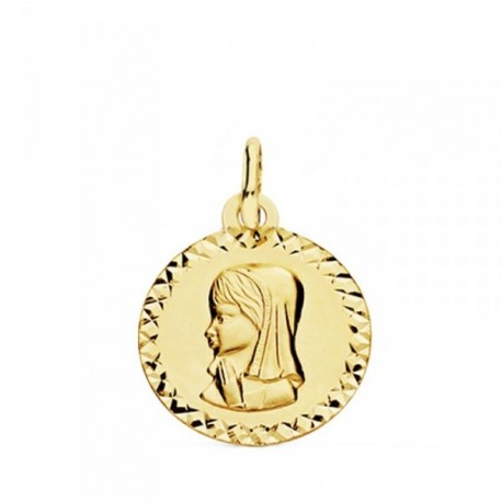 Medalla oro 18k  Virgen Niña cerco tallado  [AB3810GR]