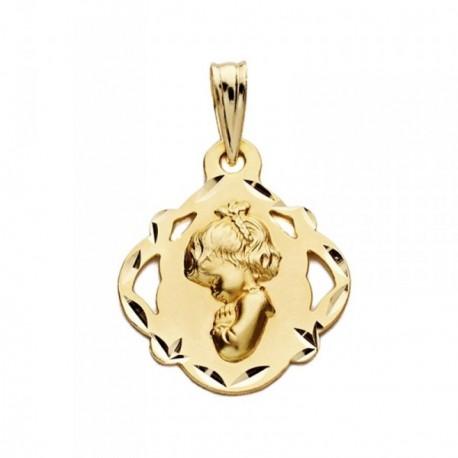 Medalla oro 18k escapulario Virgen Niña 19mm. [AB3819GR]
